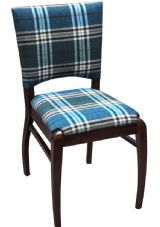 Culver Wooden Side Chair with Upholstered Seat & Back in Dark Walnut & Check Fabric